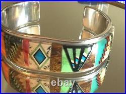 Navajo Native American Inlay Cuff Bracelet Tommy Jackson Sterling & Multi Stone