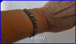 Navajo Old Pawn Silver Snake Eyes Turquoise Bracelet Arrow Butterfly Fred Harvey