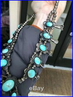 Navajo Old Pawn Sterling Silver & Robins Egg Turquoise Squash Blossom Necklace