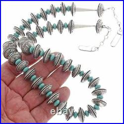 Navajo Old Pawn Style Antiqued Coin Silver Turquoise Necklace Mercury Dimes Bead