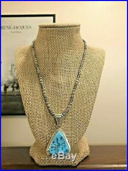 Navajo Paul Livingston Sterling Silver Turquoise Pendant Bali Beads Necklace 925