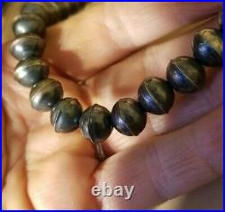 Navajo Pearls Handmade Seamed Sterling Silver 10 MM Beads Necklace 18 inches