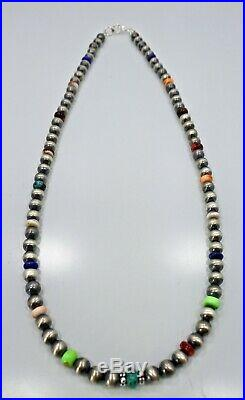 Navajo Pearls Sterling Silver 6 mm Beads Multi Color Necklace 20 inches long