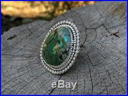 Navajo Ring Green Black Matrix Turquoise Sterling Silver Signed Native Jewelry