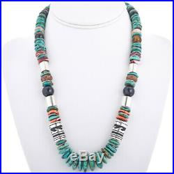 Navajo Rose & Tommy Singer Turquoise Onyx Multi-Gems 21.5 Treasure Necklace