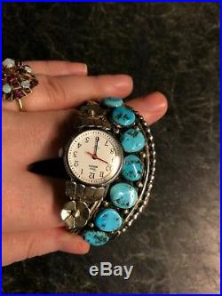 Navajo S Ray Large Sterling Silver Turquoise Watch Cuff Bracelet 53 GRAMS 925