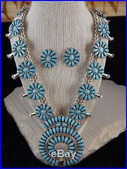 Navajo Squash Blossom with Earrings Sterling Silver & Turquoise Zeita Begay