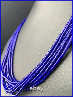 Navajo Stabilized Lapis Lazuli 10S Sterling Silver Tube Heishi Necklace 194358