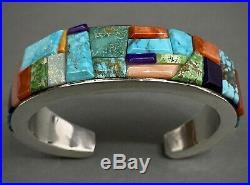 Navajo Sterling Silver Cobblestone Inlay Turquoise Multi Stone Cuff Bracelet