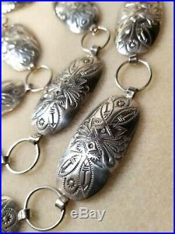 Navajo Sterling Silver Concho Belt 39 Oval Size Conchos Excellent Quality 925