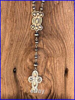 Navajo Sterling Silver Handmade Beaded Rosary Necklace Signed