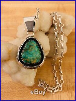Navajo Sterling Silver Quality Royston Turquoise Pendant Necklace P Sanchez 925