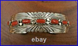 Navajo Sterling Silver Red Coral Cuff Bracelet Julia Slinky Sz. 7