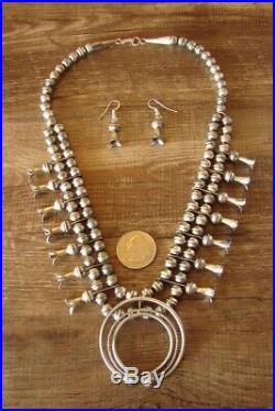 Navajo Sterling Silver Squash Blossom Necklace Set LFK