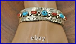 Navajo Sterling Silver Turquoise Coral Cuff Bracelet Julia Slinky Sz. 7 Varied