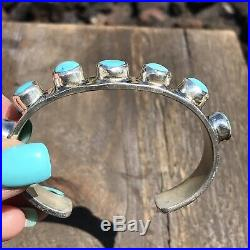 Navajo Sterling Silver Turquoise Cuff Bracelet By Chimney Butte Signed