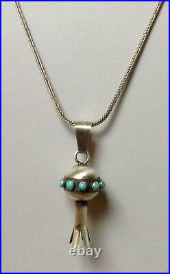 Navajo Sterling Silver Turquoise Squash Blossom Pendant Signed Monica Smith