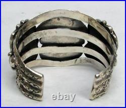Navajo Sterling Silver With Mexican Fire Agate Massive Cuff
