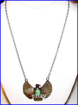 Navajo Thunderbird Bar Necklace Sterling Silver Kingman Turquoise Native Signed