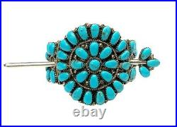 Navajo Turquoise Cluster Sterling Silver Hair Barrette Juliana Williams