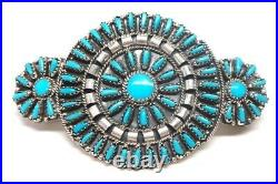 Navajo Turquoise Cluster Sterling Silver Hair Barrette Violet Begay