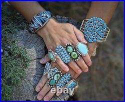 Navajo Turquoise Cuff Bracelet Kingman w Pyrite Sterling Silver Signed Jewelry