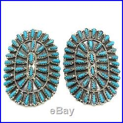 Navajo Turquoise Needlepoint Sterling Silver Post Earrings Violet Begay