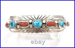 Navajo Turquoise Red Coral Row Sterling Silver Cuff Bracelet Stamped