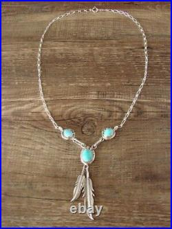 Navajo Turquoise Sterling Silver 3 Stone Feather Link Necklace by Rita Largo