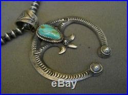 Navajo Turquoise Sterling Silver Bead Necklace + Naja Pendant, Signed EL BILLAH