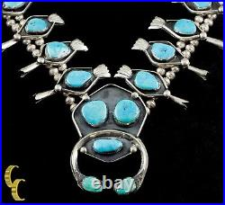 Navajo Turquoise & Sterling Silver Large Squash Blossom Necklace