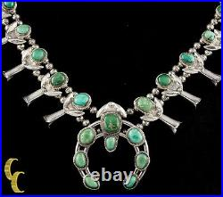 Navajo Turquoise & Sterling Silver Squash Blossom Necklace