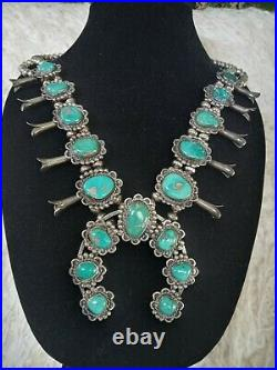 Navajo Vintage Old Pawn Sterling Turquoise Squash Blossom Necklace- Stunning