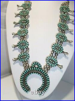 Needle Point Turquoise Sterling Silver Navajo Squash Blossom Necklace Vintage