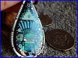 New Sterling Silver Jet Created Opal Inlay Pendant by Navajo Wilson Dawes