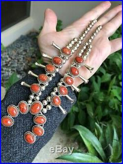 Nice! Navajo Indian Southwestern Squash Blossom Necklace Sterling Silver & Coral