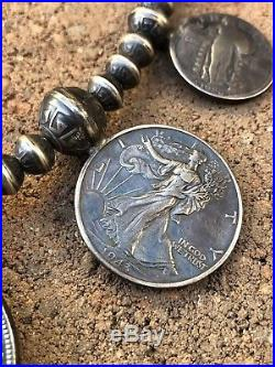 OLD PAWN NAVAJO Sterling Silver MERCURY DIME EAGLE Coin SQUASH BLOSSOM Necklace