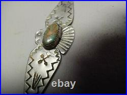 OLD PAWN VINTAGE NAVAJO FRED HARVEY STERLING TURQUOISE THUNDERBIRD PIN 3.5big