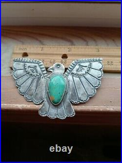 OLD PAWN VINTAGE NAVAJO FRED HARVEY STERLING TURQUOISE THUNDERBIRD PIN 3big