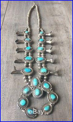 Old (5.45 Oz.) 24.5 Navajo Turquoise & Sterling Silver Squash Blossom Necklace
