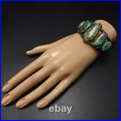 Old NAVAJO Hand Stamped Sterling Silver ROYSTON TURQUOISE Cuff BRACELET