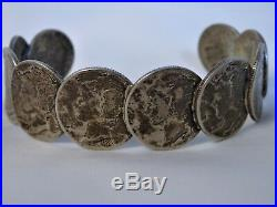 Old NAVAJO Mercury DIME Coin & STERLING Silver 24 Squash Blossom & Bracelet Set
