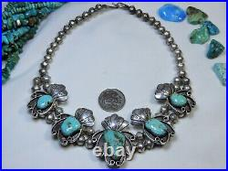 Old NAVAJO Pat Chee EASTER BLUE Turquoise STERLING SQUASH BLOSSOM Signed