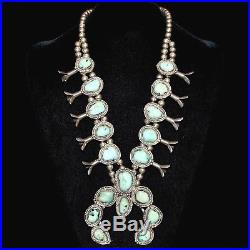 Old Pawn/Estate Navajo Sterling Silver & Turquoise Squash Blossom Necklace