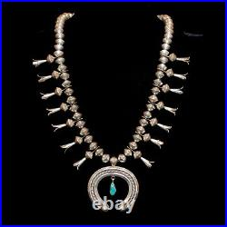Old Pawn/Estate Navajo Turquoise & Sterling Silver Squash Blossom Necklace