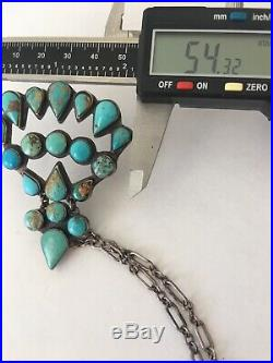 Old Pawn Federico Jimenez Sterling Silver Turquoise Cluster Pendant Necklace