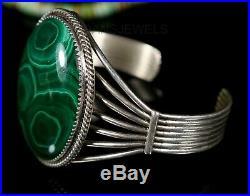 Old Pawn Natural NAVAJO Handmade Green MALACHITE Sterling Silver CUFF Bracelet