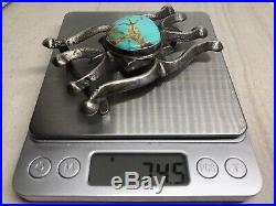 Old Pawn Navajo Blue Royston Turquoise Sterling Silver Sandcast Belt Buckle -74g
