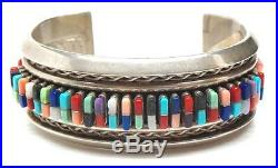 Old Pawn Navajo Handmade Sterling Silver Multi Color/Stone Cornrow Cuff Bracelet