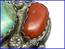 Old Pawn Navajo Native Sterling Silver Turquoise Coral Huge Mens Ring (Sz. 12)